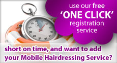 Use our free one click Mobile Hairdressers directory registration service