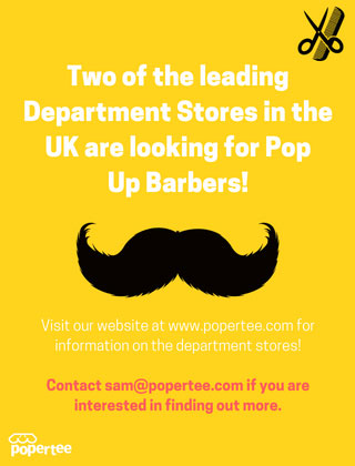 pop up Barbers in Debenhams