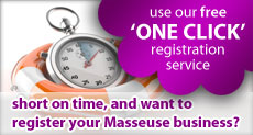 Use our free one click Masseuse directory registration service