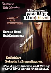 freelance hairdressing Hertfordshire & NW London